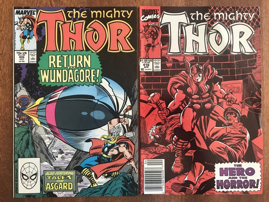 2 Issues The Mighty Thor Comic #406 & #416 Marvel Comics Copper Age Comics