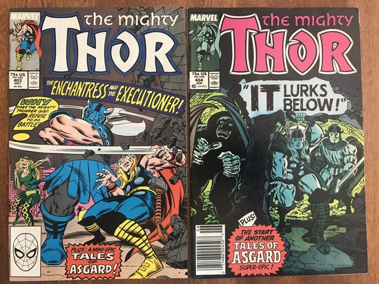 2 Issues The Mighty Thor Comic #403 & #404 Marvel 1989 Comics Copper Age Comics