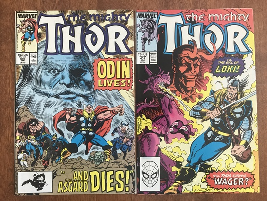 2 Issues The Mighty Thor Comic #399 & #401 Marvel 1989 Comics Copper Age Comics