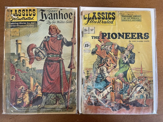 2 Issues Classics Illustrated Ivanhoe Comic #002 & Classics Illustrated The Pioneers Comic #37 15 Ce
