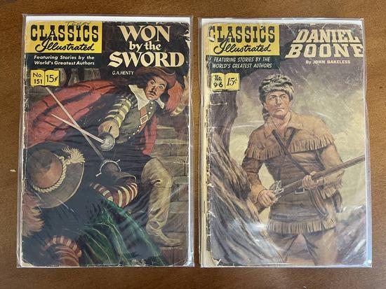 2 Issues Classics Illustrated Daniel Boone Comic #96 & Classics Illustrated Won By The Sword Comic #