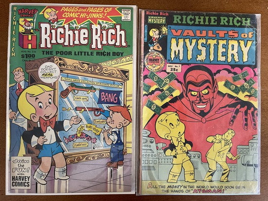 2 Issues Richie Rich Vaults of Mystery #7 & Richie Rich #235 Harvey Comics