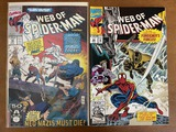 2 Issues Web of Spiderman Comic #72 & #92 Marvel Comics Silver Sable Foreigners Forces