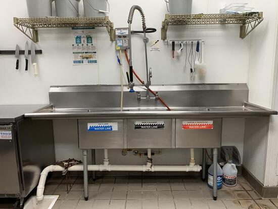 "90""W 3comp. Stainless Steel Sink w/Faucet & Sprayer"