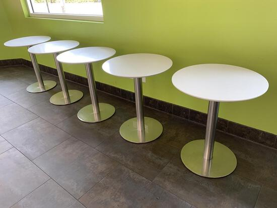"(5) 24"" Round White Tables w/Stainless Steel Round Bases"
