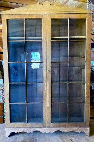 Circa 1830 Grain Painted 20 pane Bookcase