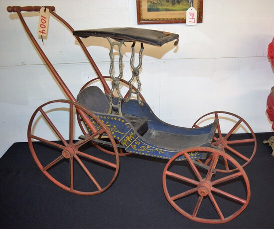 1800's Child's Wooden Doll Carriage in original blue pt