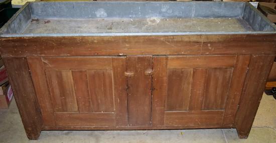 1800's Zinc Lined 2 door Dry sink