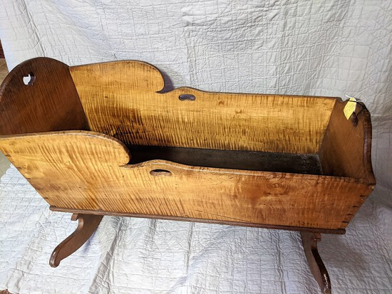 1800's Dove-tailed Tiger Maple Cradle