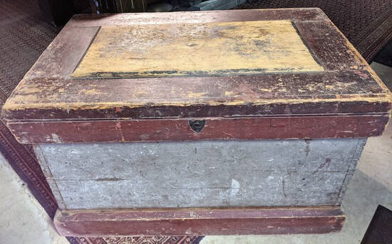 1800's painted wooden toolbox with interior marquetry