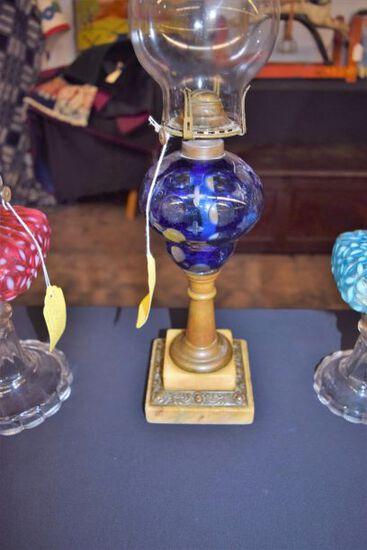 1800's Cobalt cut to clear moon & star oil lamp