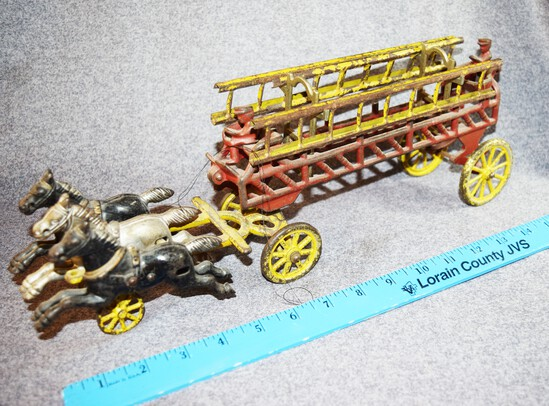 Early Cast Iron 3 Horse Drawn Fire Ladder Wagon