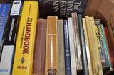 2 boxes of books w/ radio misc.