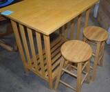 Wooden Island w/ 2 stools