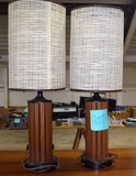 Pair of Mid-Century Modern Teak lamps