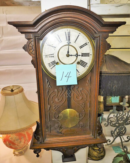 """WALNUT HANGING CLOCK (27"""" TALL) - PICK UP ONLY"""