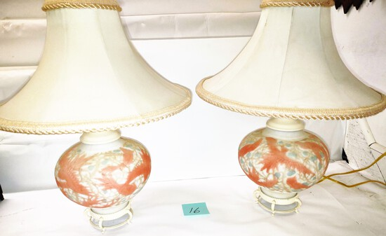"""BEAUTIFUL PAIR OF PHOENIX GLASS LAMPS (26"""") - PICK UP ONLY"""