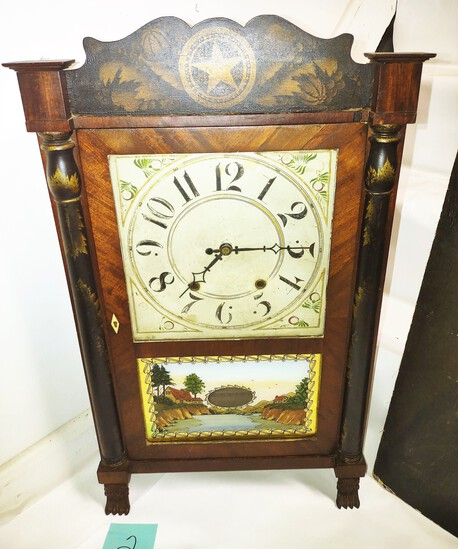 """RILEY WHITING STENCILED SHELF CLOCK (28"""" X 16"""")- PICK UP ONLY"""