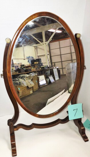 OLD MAHOGANY OVAL DRESSING TABLE MIRROR - PICK UP ONLY