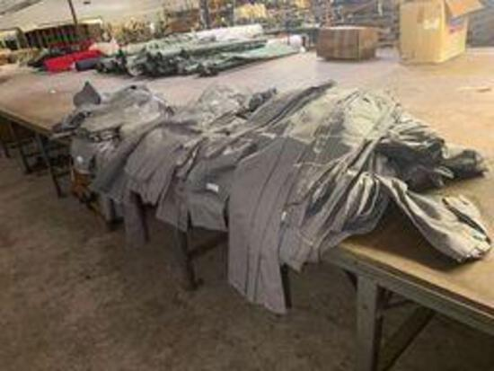 Gray uniform pants with blue pin stripe 50% cotton 50% polyester