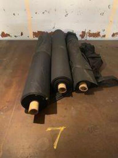 3 rolls of black cotton fabric