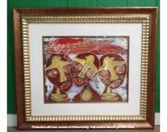 """Original w/ Red & Gold Frame 2'10"""" x 3'3"""""""