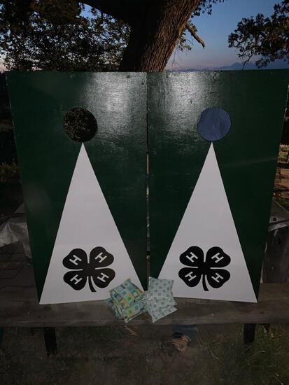 4-H Green & White Corn Hole Boards with a set of Corn Hole Bags.