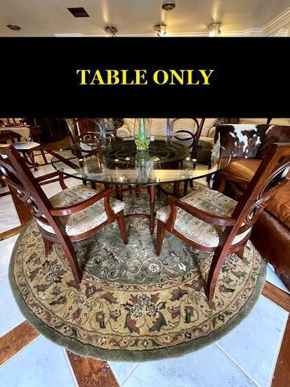 Round dining table (glass) with wooden base