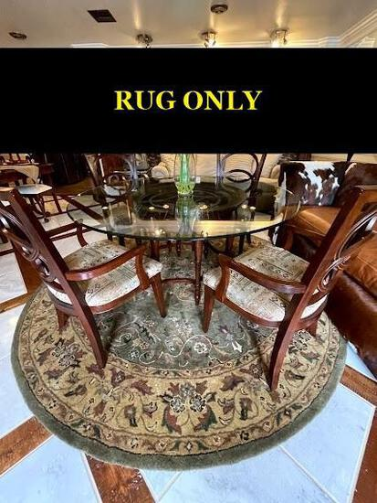 8' round Heritage Collection rug; handcrafted in India