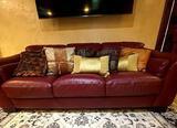 Leather burgundy sofa