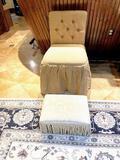 Bathroom vanity chair - burlap