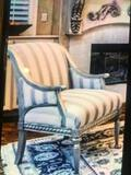 Schnadig deco-striped upholstered chair, platinum