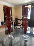 2 orange candle holders (set)