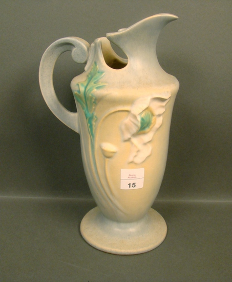 "Roseville Light Blue Poppy 10"" Handled Ewer"