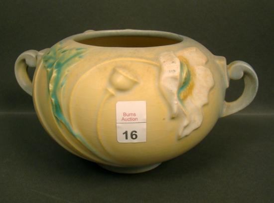 Roseville Poppy Blue/Yellow Handled Vase