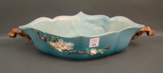 "Roseville Blue Apple Blossom 12"" Center Piece Bowl"