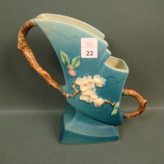 """Roseville Blue Apple Blossom &"""" Vase"""