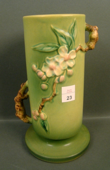 "Roseville Green Apple Blossom 9"" Vase"