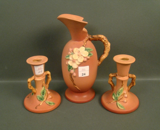 Three Piece Roseville Apple Blossom Pottery Lot