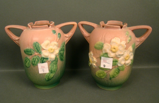Pair of Roseville White Rose Vases