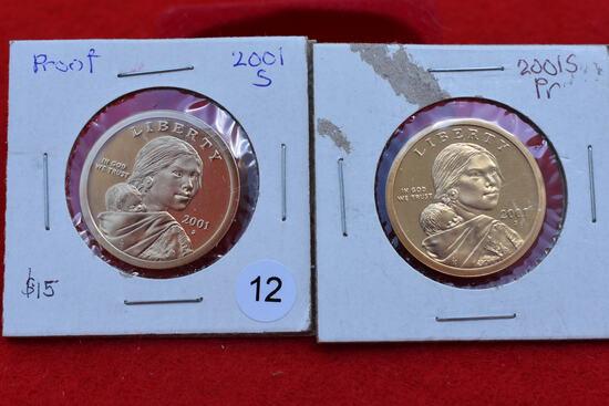 2 - 2001-s Proof Sacagawea Dollars