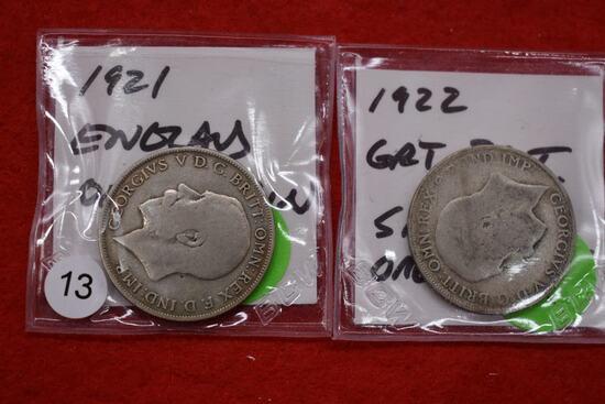 1921 & 1922 Great Britain Florins