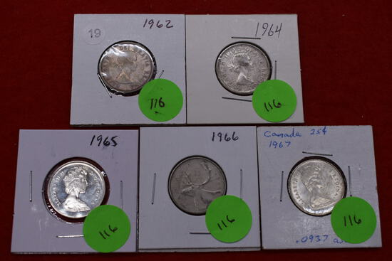 5 - Silver Canadian Quarters