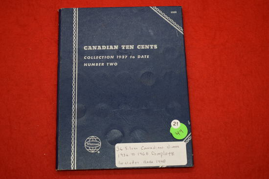 Whitman Folder With 36 Silver Canadian Dimes Including Rare 1948