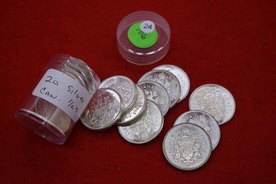 Roll Of 20 Canadian Silver Halves - Bu