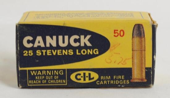 Canuck 25 Stevens Long Rimfire Cartridges Full Box