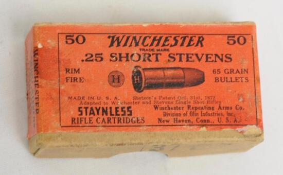 Winchester .25 Short Stevens Partial Box