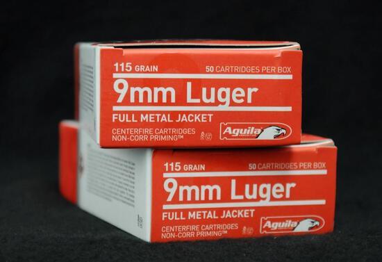 Aguilla 9mm Luger 115 grain FMJ (2 boxes)