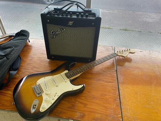 Fender Squier Strat Guitar & Speaker