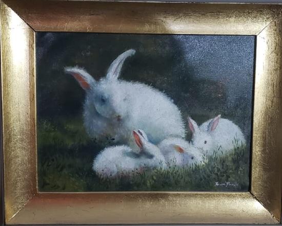 Antique Rabbits Landscape -oil Canvas Painting / Signed
